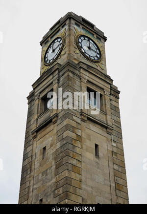 Looking up at the clock tower in Stanley Park, Blackpool, UK - Stock Photo