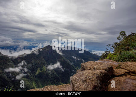 View from World's End within the Horton Plains National Park in Sri Lanka - Stock Photo