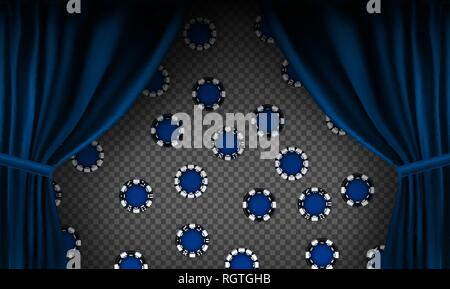 Realistic colorful red velvet curtain. Under the curtains gambling chips gambling. Option curtain at home in casino. Vector Illustration. EPS10 - Stock Photo