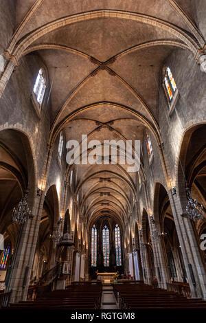 Nave of the Église Saint-Bonaventure, Lyon, Auvergne-Rhône-Alpes, France - Stock Photo