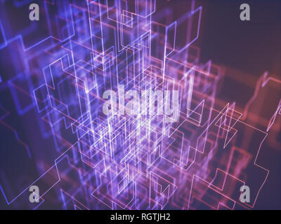 Abstract image of line and connections, colorful abstract geometric shape. 3D illustration. - Stock Photo