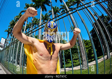 Rio de Janeiro - February 12, 2017: Disguised reveler takes part in the block Me Esquece, Portuguese for Forget Me, during pre-Carnival festivities. - Stock Photo