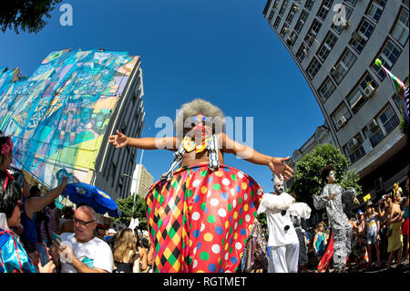 Brazil - February 19, 2017: Revellers from street block Slaves of Maua perform during pre-Carnival festivities in downtown Rio de Janeiro. - Stock Photo