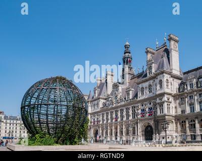 Paris, MAY 7: Exterior view of the City Hall on MAY 7, 2018 at Paris, France - Stock Photo