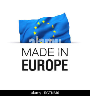 Made in EU Europe - Guarantee label with a waving flag of European Union. - Stock Photo