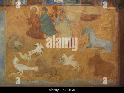 Noah's Sacrifice depicted in the fresco by Russian icon painter Lyubim Ageyev and his workshop (1640-1641) in the west gallery (papert) of the Church of Saint Nicholas Nadein (Nikolai Nadein) in Yaroslavl, Russia. - Stock Photo