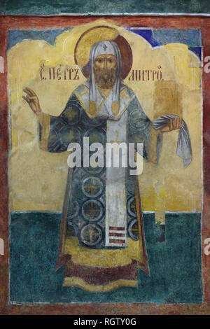 Metropolitan Peter of Moscow, also known as Saint Peter of Moscow, depicted in the fresco by Russian icon painter Lyubim Ageyev and his workshop (1640-1641) in the west gallery (papert) of the Church of Saint Nicholas Nadein (Nikolai Nadein) in Yaroslavl, Russia. - Stock Photo