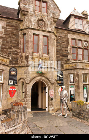 Tintagel,Cornwall,UK: August 14, 2018: King Arthur's Hall is a historic building in Fore Street.It served for social organization known as the Order o - Stock Photo