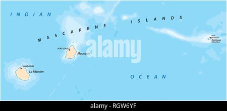 vector map of the Mascarene Islands, Mauritius, Reunion, Rodrigues - Stock Photo