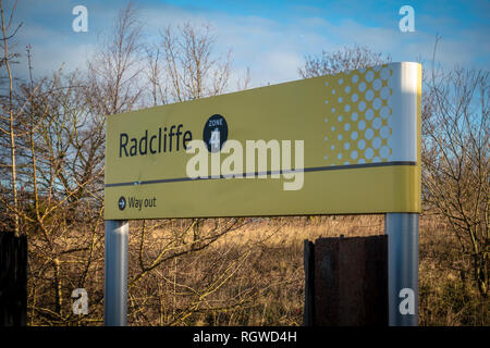 Sign at Radcliffe Metrolink Station - Stock Photo