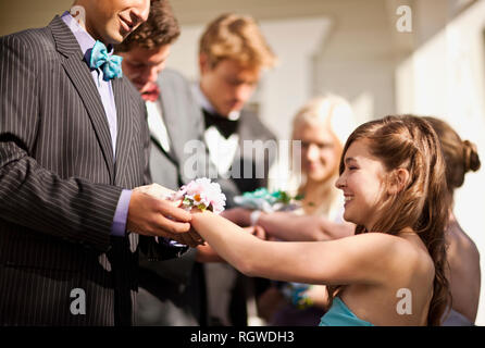 Teenage boys giving their prom dates their corsages. - Stock Photo
