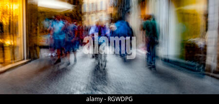 Long Exposure Concept Photograph In The Streets Of Italy - Stock Photo