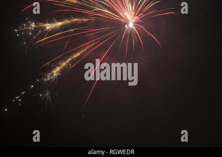 single skyrocket exploding on night sky in red and golden sparkling colors - Stock Photo
