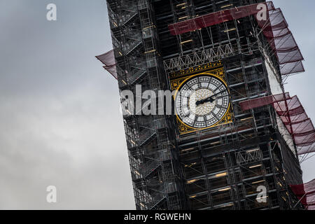 The Big Ben clock tower under repair and maintenance - Stock Photo