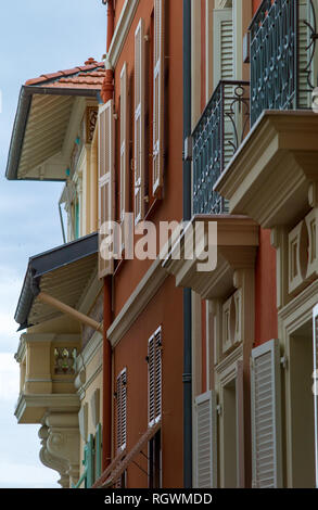Façade of a building in Monaco Town (Monaco Ville), Principality of Monaco - Stock Photo