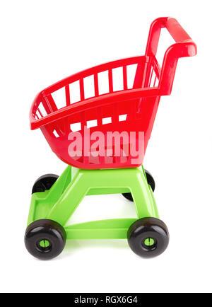 Toy shopping cart isolated on white background - Stock Photo