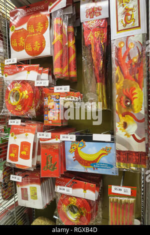 Chinese New Year decorations for sale on Temple Street ...