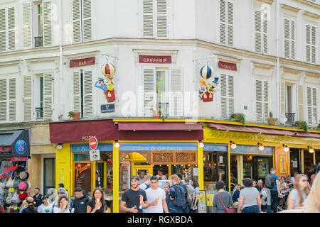 Paris, MAY 5: Street view with many tourist on MAY 5, 2018 at Paris, France - Stock Photo