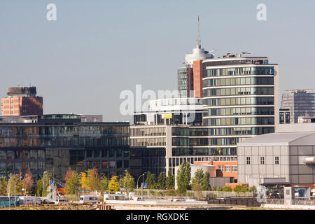 View of part of the new HafenCity with Columbus Tower Hanseatic trade center, Hamburg, Germany, Europe - Stock Photo