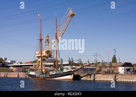Old sailing ship at the pilot channel in Harburg's inland port in Harburg, Hamburg, Germany, Europe - Stock Photo