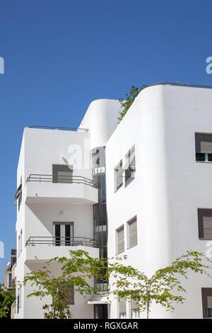 Bauhaus Apartments on Rothschild in Tel Aviv, Israel - Stock Photo