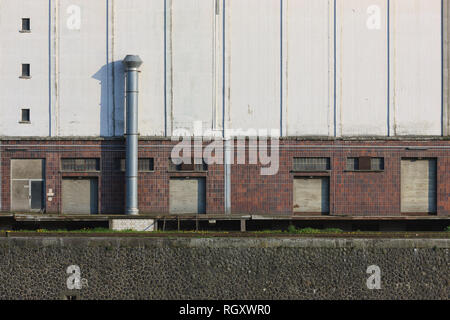 Detail view of a storage house at the East Harbour, Frankfurt, Hesse, Germany, Europe - Stock Photo