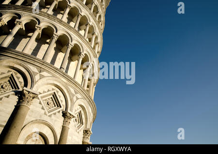 Leaning Pisa Tower with Clear Sky in Tuscany, Italy. - Stock Photo