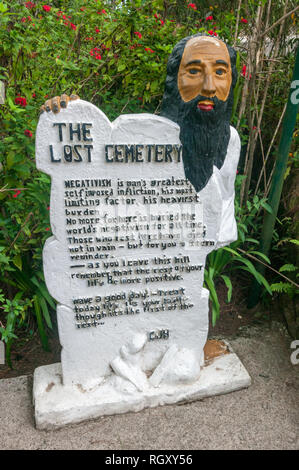 The Lost Cemetery or Cemetery of Negativity at Camp John Hay in Baguio City, Philippines, which contains a wealth of witty words of wisdom. - Stock Photo