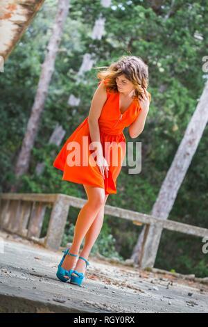 Teen cute beauty female is shy charm charming feminine - Stock Photo