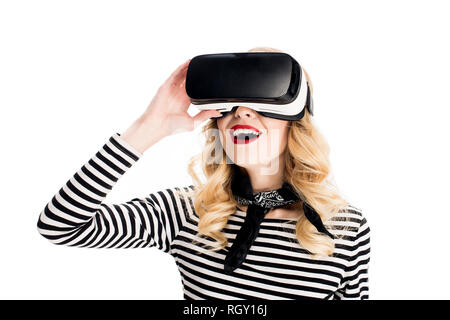 happy woman using virtual reality headset isolated on white - Stock Photo