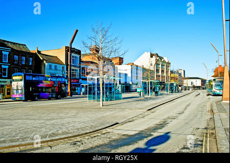 Buses in Stockton on Tees High street, Cleveland, England - Stock Photo