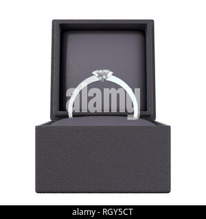 An open cube shaped black ring box with a silver engagement ring and large cut diamond on an isolated white background - 3D render - Stock Photo