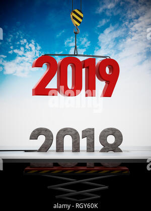 2019 number carried by crane replaces 2018. 3D illustration. - Stock Photo