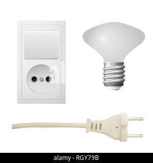 Socket with plug, lightbulb. Set of electrical equipment. Vector illustration - Stock Photo