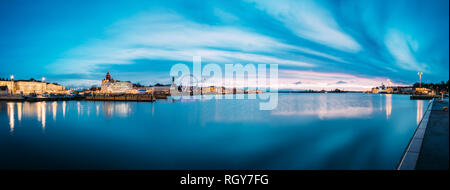 Helsinki, Finland. View Of Embankment With Ferris Wheel And Uspenski Cathedral In Illuminations During Morning Sunrise Time. Panoramic View, Panorama. - Stock Photo