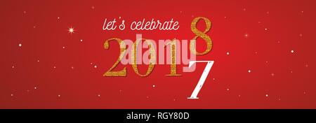 2018 celebration banner . gold 2017 numbers turning 2018 on red background. vector illustration - Stock Photo