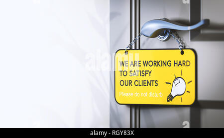 3D illustration of a door hanger with the text we are working hard for our clients, Concept of employee engagement for customer satisfaction. - Stock Photo
