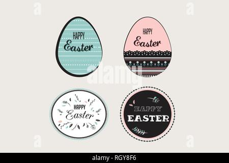 Easter elements with decorated egg and floral emblems. - Stock Photo