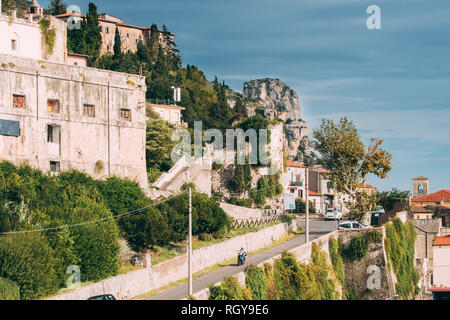 Terracina, Italy - October 15, 2018: Via Posterula Street Leading To Upper Town In Sunny Day. - Stock Photo
