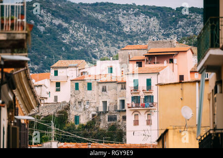 Terracina, Italy - October 15, 2018: View Of Upper Town. - Stock Photo