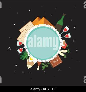 Passover flat traditional icons over night background. greeting card design template. - Stock Photo