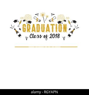 Graduation Class of 2018 greeting card and invitation template. Vector party invitation. Grad poster. vector illustration - Stock Photo