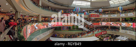 Zhongshan China Jan 1,2019:Lots of consumers visiting a big shopping Mall on the new year holiday. - Stock Photo