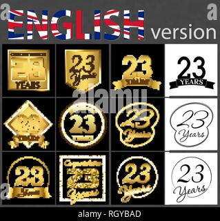 Set of number 23 years (twenty-three years) celebration. Anniversary golden number template elements for your birthday party - Stock Photo