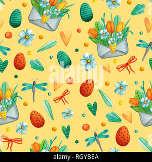 Seamless pattern with cute Easter watercolor illustrations. - Stock Photo