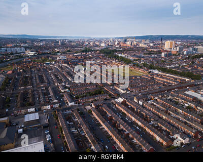 Aerial view over south Belfast - Stock Photo