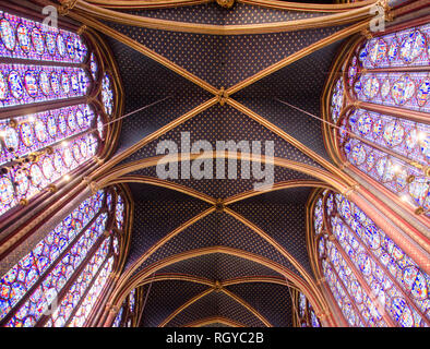 Inside Sainte-Chapelle, the royal chapel in the Gothic style consecrated in 1248. Paris, January 29th, 2019