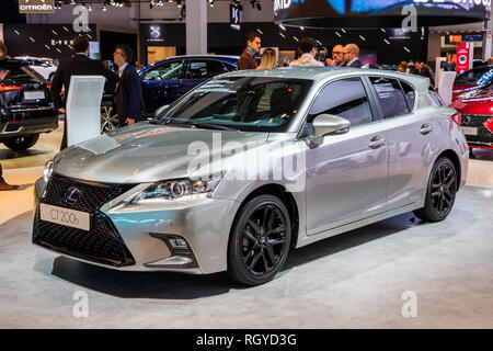 BRUSSELS - JAN 18, 2019: Lexus CT 200h car showcased at the 97th Brussels Motor Show 2019 Autosalon. - Stock Photo