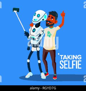 Robot Takes A Selfie On Smartphone With Friend Guy Vector. Isolated Illustration - Stock Photo