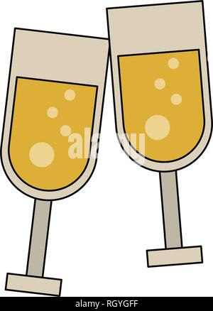 Champagne cups toast - Stock Photo